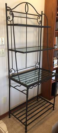 Photo Wrought iron baker39s rack with glass shelves  wine rack - $100 (VIENNA)