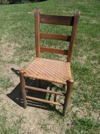 Photo Set of 8 antique ladder back woven seat wooden chairs - $160