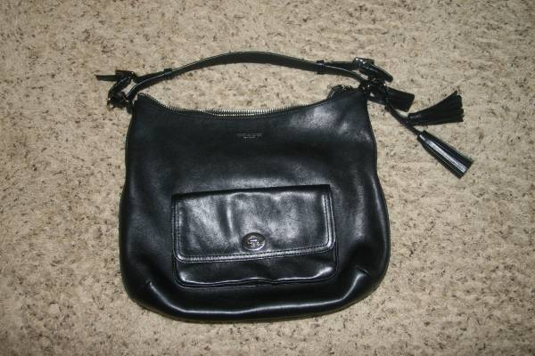 Photo COACH black leather hobo style handbag with dust cover - $55 (pace)