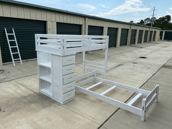 Photo Loft bed over twin bed with drawers and shelves-Delivery Available - $329 (Pensacola)