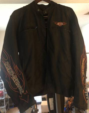 Photo Mens Harley Davidson nylon riding biker motorcycle jacket - $115