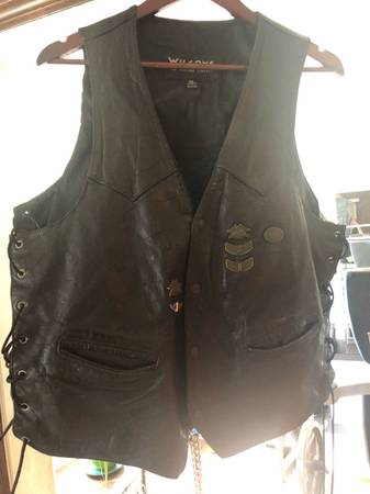 Photo Mens Wilsons XL Harley Davidson riding biker motorcycle vest - $75