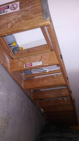 Photo 12 Ft High Werner Industrial Wood Step Ladder - $70 (New Hope)