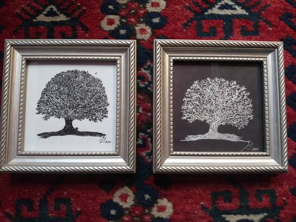 Photo 2 REALLY NICE ARTIST SIGNED 7quot YING  YANG TREE OF LIFE INK DRAWINGS - $15 (Fairmount)