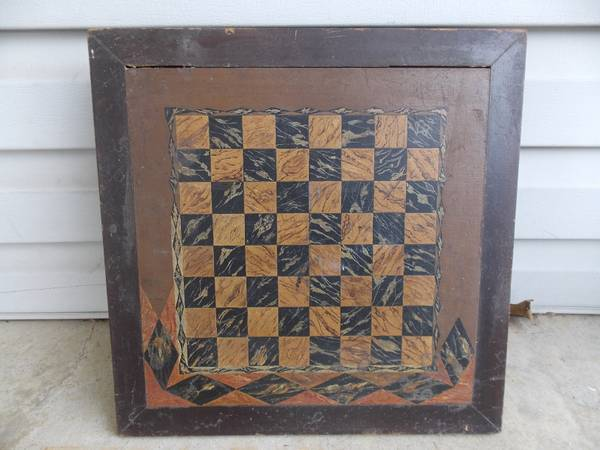 Photo Antique 192039s Hand Painted Wood Chess Checker Board Table Top - $75 (Yardley, Pa)