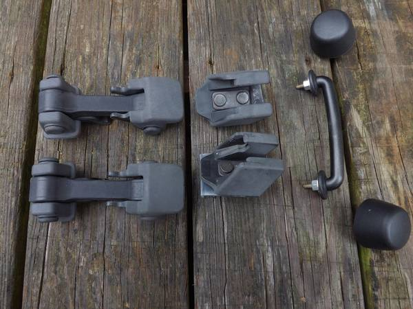 Photo Flat Black Hood Latches  Windshield Docking Hardware from 2017 Jeep - $50 (Bear  Newark)