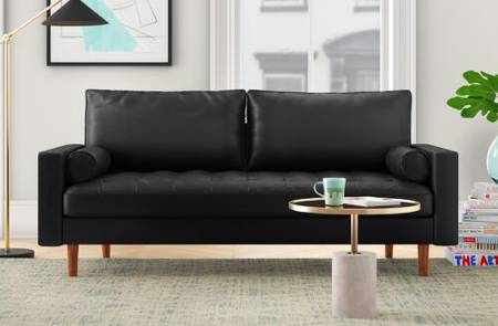 Photo New black faux leather sofa for sale - $375 (Rittenhouse Square, Philadelphia)