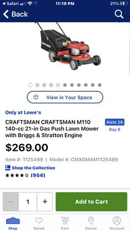 Photo New in box Craftsman 21 inch lawn mower with rear bag 269$ at Lowe - $200 (Langhorne borough)