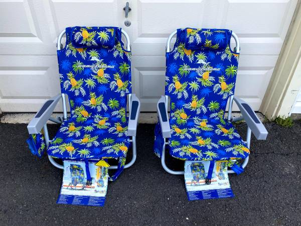 Photo Set of 2 - Tommy Bahama Outdoor Folding Backpack Beach Chairs - New - $160 (North Wales, PA)