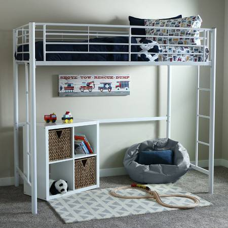 Photo Sunset White Metal Twin Loft Bunk Bed By Walker Edison Furniture Co - $175 (Norristown)