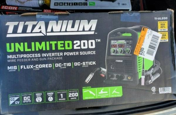 Photo Titanium Unlimited 200 TI-UL200 Muliprocess Inverter Power Source Weld (5811 HARBISON AV)