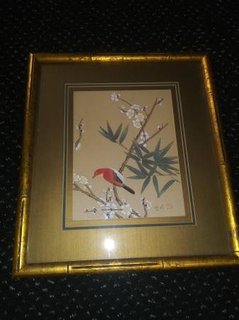 Photo Vintage 1970 Signed 20quot Asian Bird Painting on Silk Beautifully Framed - $35 (Center City Fairmount Area)