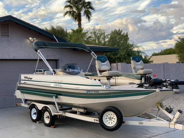 Photo 1998 Fisher freedom 200 deck boat fishing  pontoon style - $10,900 (N Phoenix)