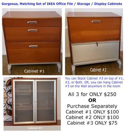 Photo 3 Amazing IKEA Maple Wood Office Cabinets - 4 Drawers  1 Garage - $235 (QUEEN CREEK)