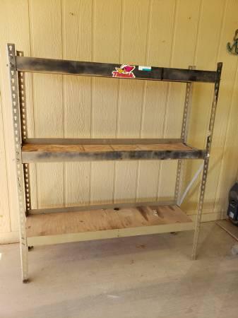 Photo Garage or Shed Storage Metal Shelf with Adjustable Wood Shelves - $55 (Buckeye, AZ)