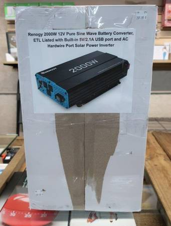 Photo Renogy 2000W Solar Power Inverter 12V Pure Sine Wave Battery Converter - $210 (Country Club  University)