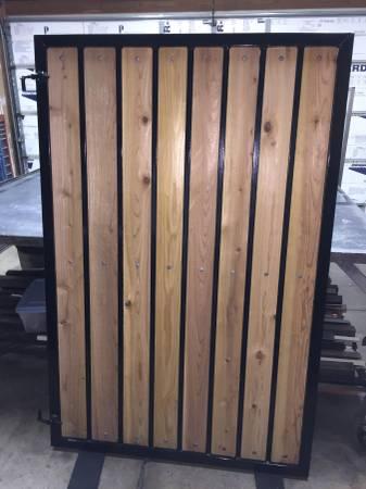 Photo Wrought Iron Gate Powder Coated w Real Cedar Wood - 43.53939 W x 603939 T - $250 (chandler)