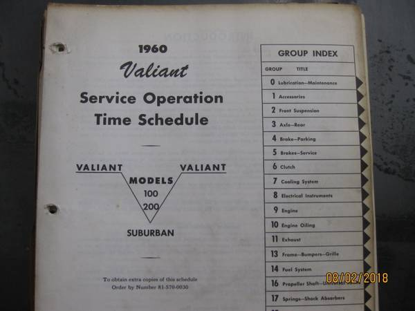1960 -1962 Plymouth Valiant Time Schedule Book - $20 ...