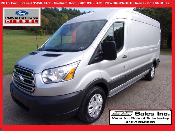 Photo 2015 Ford Transit T250 XLT Cargo Van - Med Roof - 55,146 Miles DIESEL - $29000 (Allison Park)