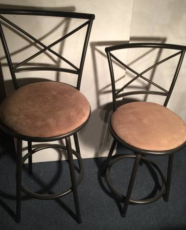 Photo 2 CUSHIONED BAR STOOL Counter Round Chair Metal Frame Black 30quot 25quot (Washington)