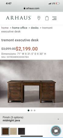 Photo BRAND NEW Arhaus Tremont desk w leather inlaid desktop - $1,500 (Pittsburgh Southside)