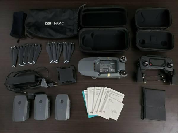 Photo DJI Mavic Pro drone w 3 batteries, spare props, charging hub, more - $650 (Irwin)