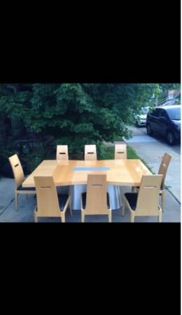 Photo Dining Room (High End Solid Wood) Table, Eight Chairs and Extensions - $900 (Brentwood-Pgh)