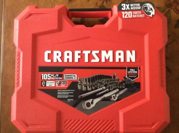 Photo NEW - Craftsman 105 PC Gunmetal Chrome Mechanics Tool Set - $80 (North Hills)