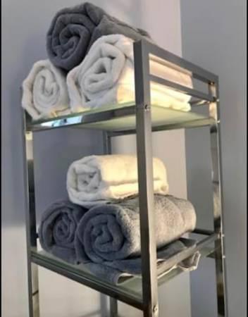 Photo Chrome Shelf Unit with Glass Shelves - $45 (Westport)