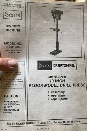 Photo Craftsman floor model drill press - $450 (CADYVILLE)