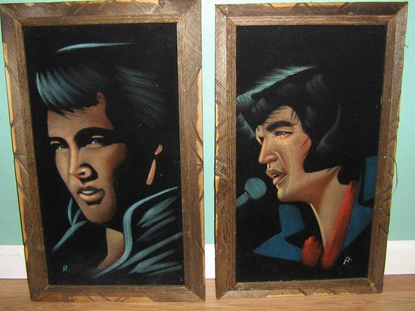 Photo LK Two Elvis Paintings On Velvet Excellent Condition 14quot X 23quot - $75 (Watertown,NY)