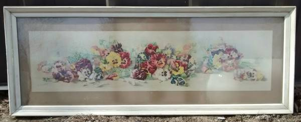 Photo Large Vintage Floral Art Print  PANSIES  Matted, Framed, Wired NICE - $90 (CONCORD NH)