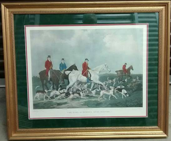 Photo The EARL of DERBY39S STAG HOUNDS Framed Print Horse Dog Fox Hunt LARGE - $100 (CONCORD NH)