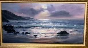 Photo Violet PARKHURST framed Print of OOC Painting, OCEAN 1975  30quot x 54quot - $60 (CONCORD NH)