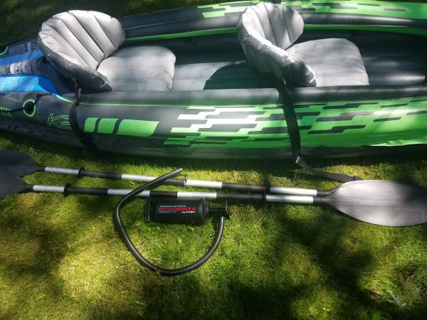 Photo 2 Person inflatable kayak with oars - $80 (LONG POND)