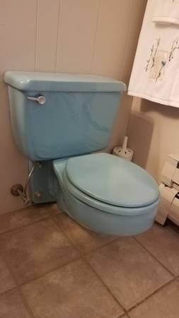 Photo Toilet wall hung blue  matching sink American Standard (Columbia NJ)