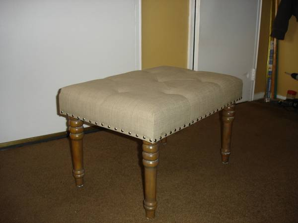 Photo ottoman with wood legs-beige color - $55 (Hawley ,Pa)