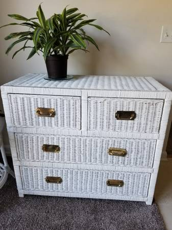 Photo White Wicker Dresser and Table - $50