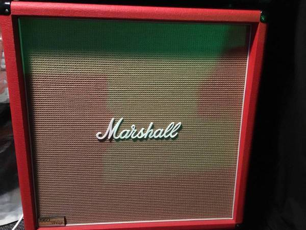 Photo 1960 vintage Marshall 4x12 Red tolex - $750 (Clark)