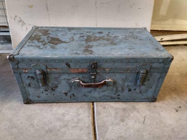Photo Blue Antique Vintage Steamer Trunk - $40 (SW Portland)
