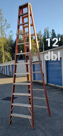 Photo Columbia 12-ft double-sided fiberglass step ladder (type 1A-300) - $210 (Portland)