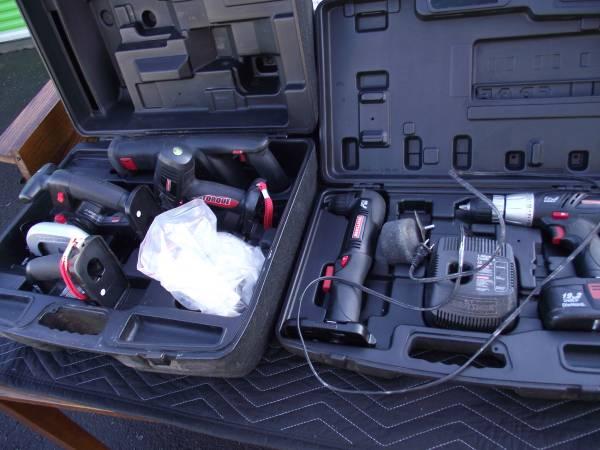 Photo Craftsman 19.2 Volt Cordless Power Tools Driver Angle Drill Saw Light - $160 (SE Portland)