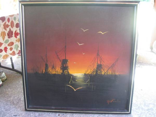 Photo OIL PAINTING ON CANVAS ,SAIL BOATS AT DAWN FRAMED SIGNED - $125 (Troutdale)