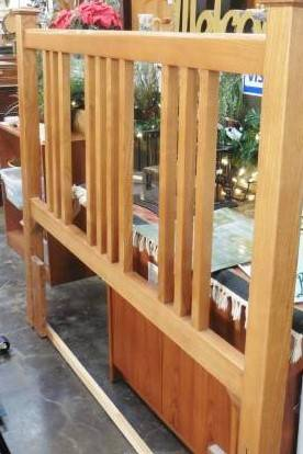 Photo Queen Size Bed Frame, Oak Headboard w Metal Frame - $219 (SE Portland)