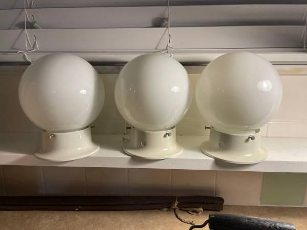 Photo Three Round Milk White Glass Ceiling Light Fixtures - $5 (Rome)