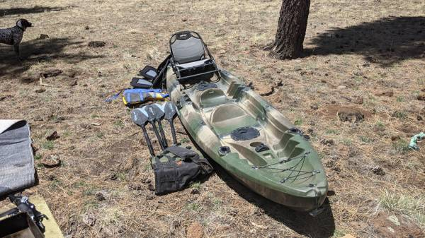 Photo 2020 Elkton 2 person fishing kayak with truck rack and bed extender - $800 (Forest Lakes)