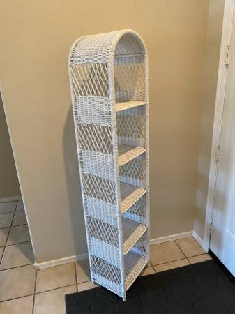 Photo Tall White Wicker Towel Display Shelf - $100 (Cottonwood Ranch)