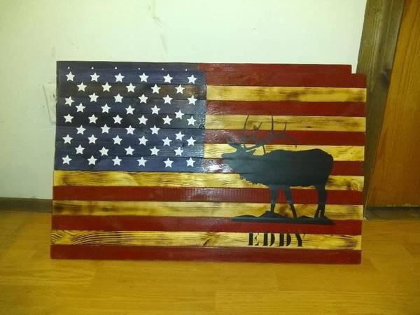 Photo Custom made wooden American flags - $75 (Pueblo)