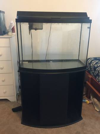 Photo 36 gallon bow front aquarium with stand - $100 (PULLMAN)