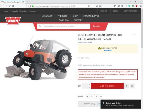 Photo Warn Rock Crawler Bumper for Jeep Wrangler TJ - $350 (pullman)